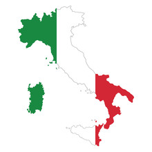 Vector Map Of Italy Flag On Wh...