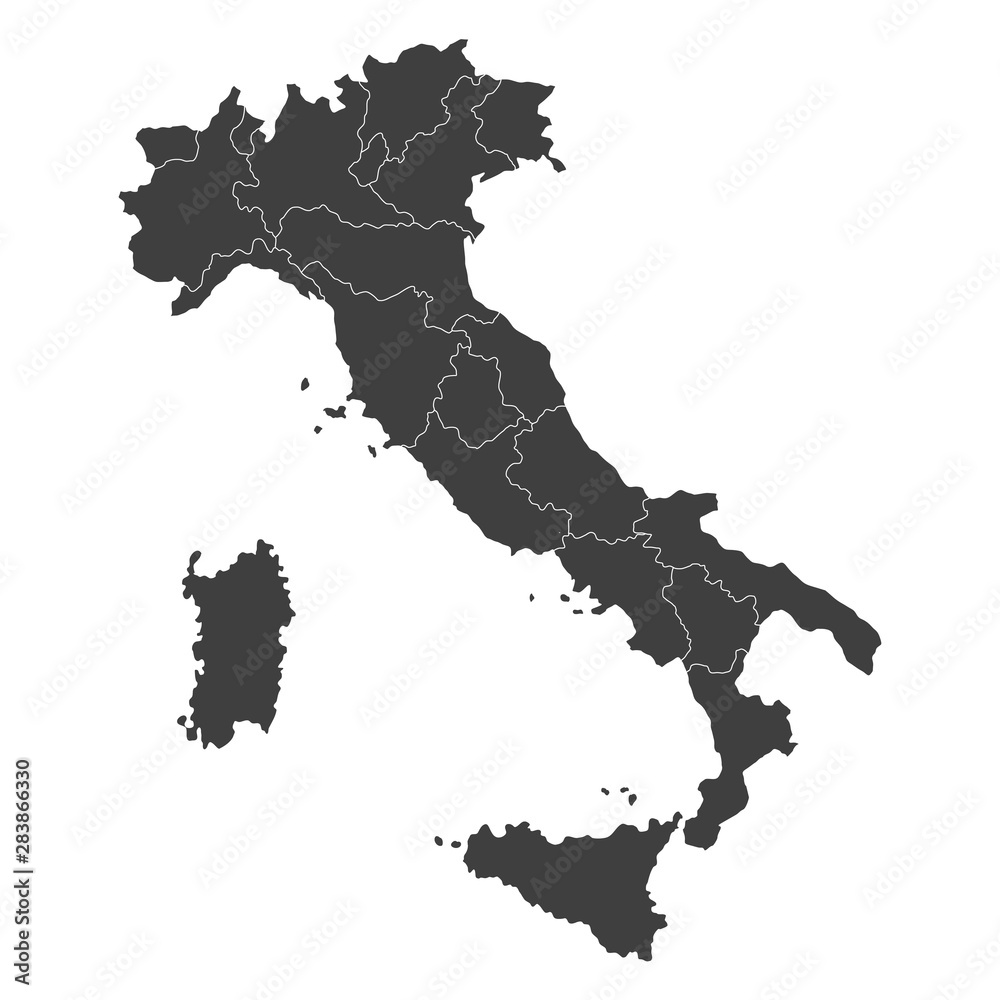 Fototapeta vector map of italy with borders of regions