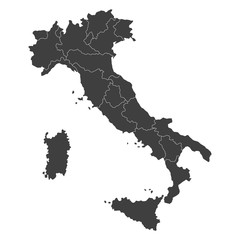 vector map of italy with borders of regions