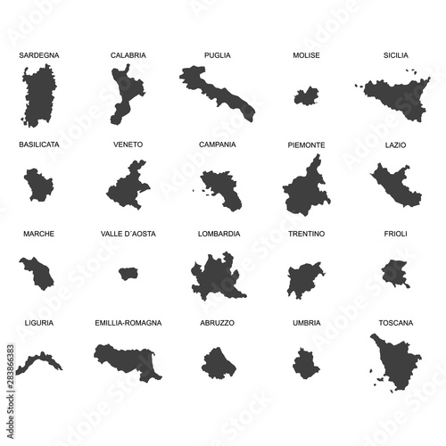 Photo sur Toile Papillons dans Grunge vector map of italy with borders of regions