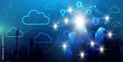 Leinwanddruck Bild - MH : Netzwerk Cloud Konzept