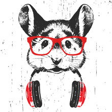 Portrait Of Mouse With Glasses...