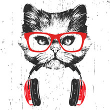 Portrait Of Persian Cat With Glasses And Headphones. Hand-drawn Illustration. Vector
