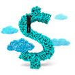 Leinwanddruck Bild Big data, information analysis and restructuring concept. Climbing businessman hang on dollar sign money symbol of huge amount 3d letters and numbers with blue big data clouds, isolated on white backg