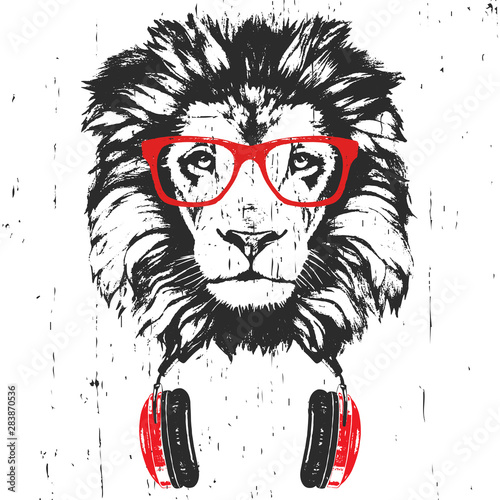 Canvas Prints Hand drawn Sketch of animals Portrait of Lion with glasses and headphones. Hand-drawn illustration. Vector