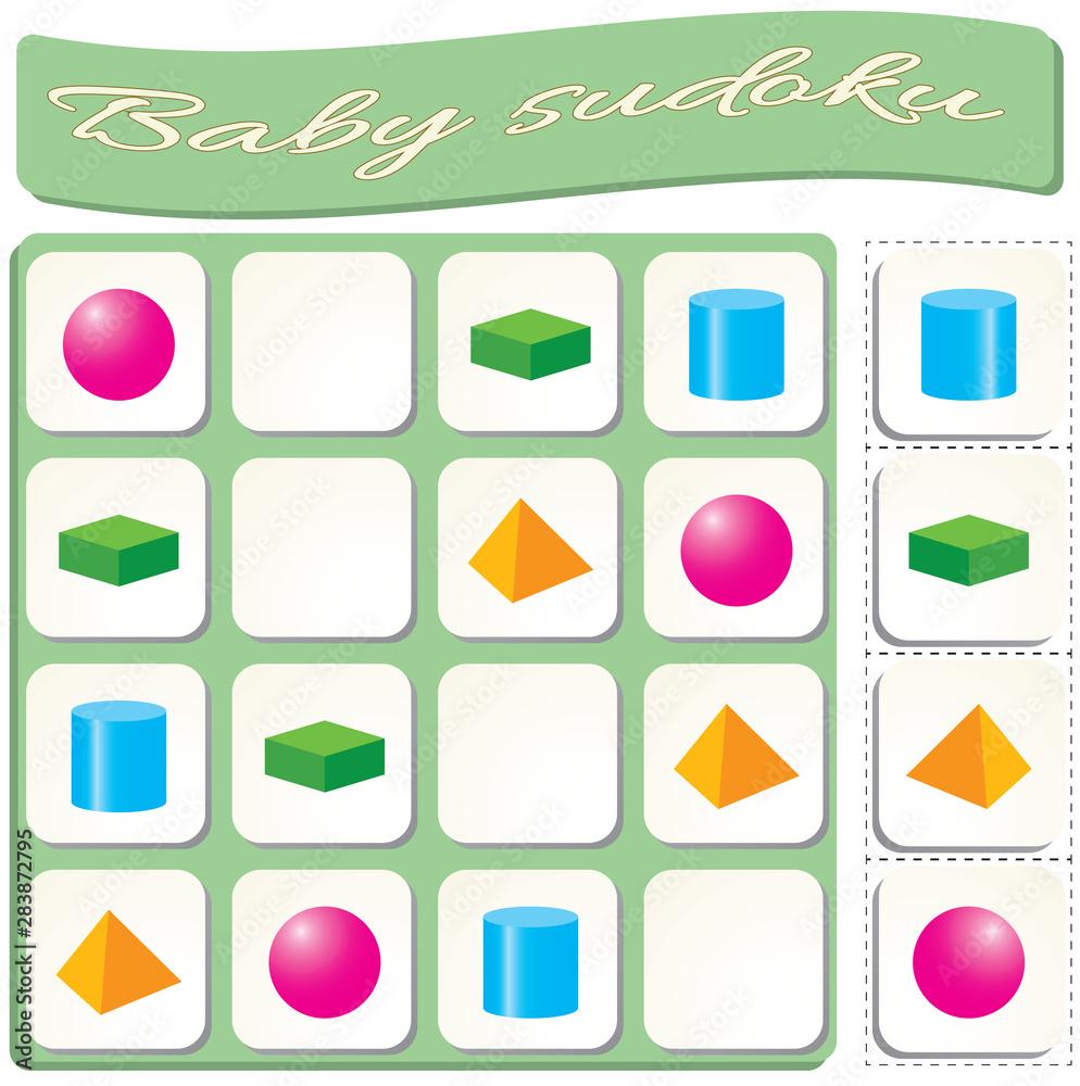 Fototapeta Sudoku for kids with colorful geometric figures. Game for preschool kids