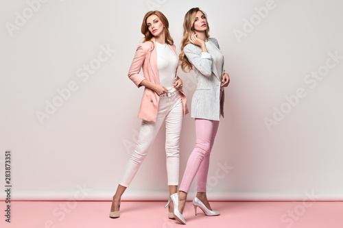 Fashionable autumn woman sisters well dressed with stylish hairstyle, makeup Wallpaper Mural