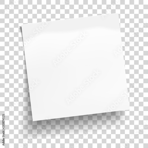 Fotografija White sheet of note paper isolated on transparent background