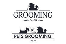 Set Of Logo For Pet Styling And Grooming Shop, Hair Salon, Pet Store For Dogs And Cats, Web Site Design. Vector Illustration