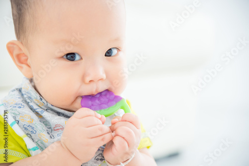 Fotografia Little asian baby biting plastic teether and looking at camera