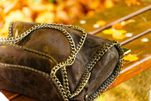 Black Leather Hand Bag With Si...