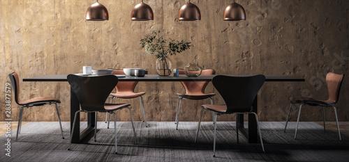 Fotografía  Dining Room Set in Contemporary Copper Design (panoramic) - 3d visualization