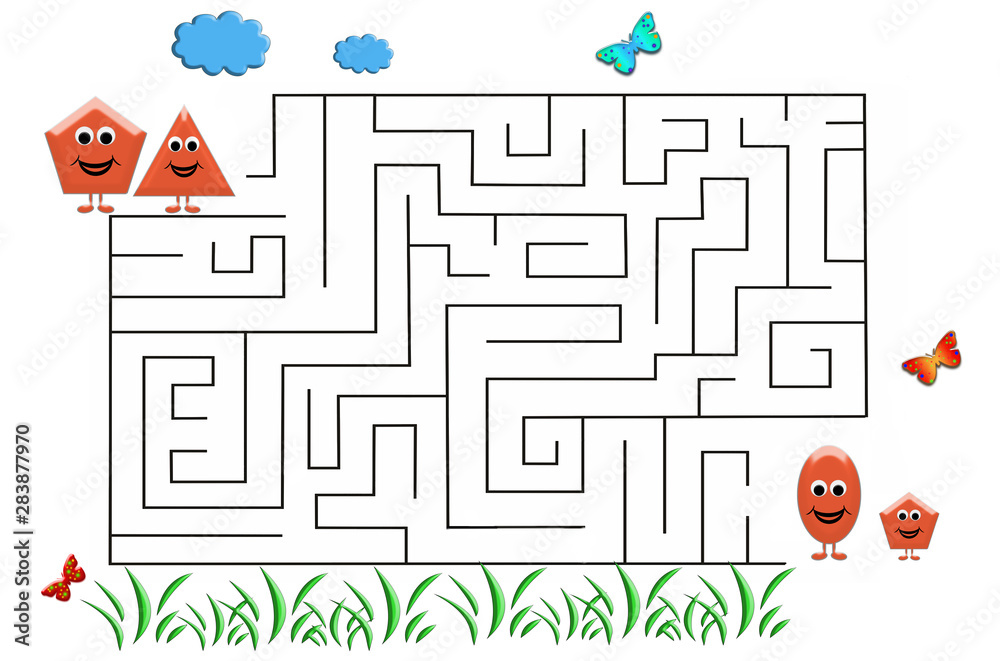 Fototapeta Funny maze game for Preschool Children. Illustration of logical education for children of preschool age.