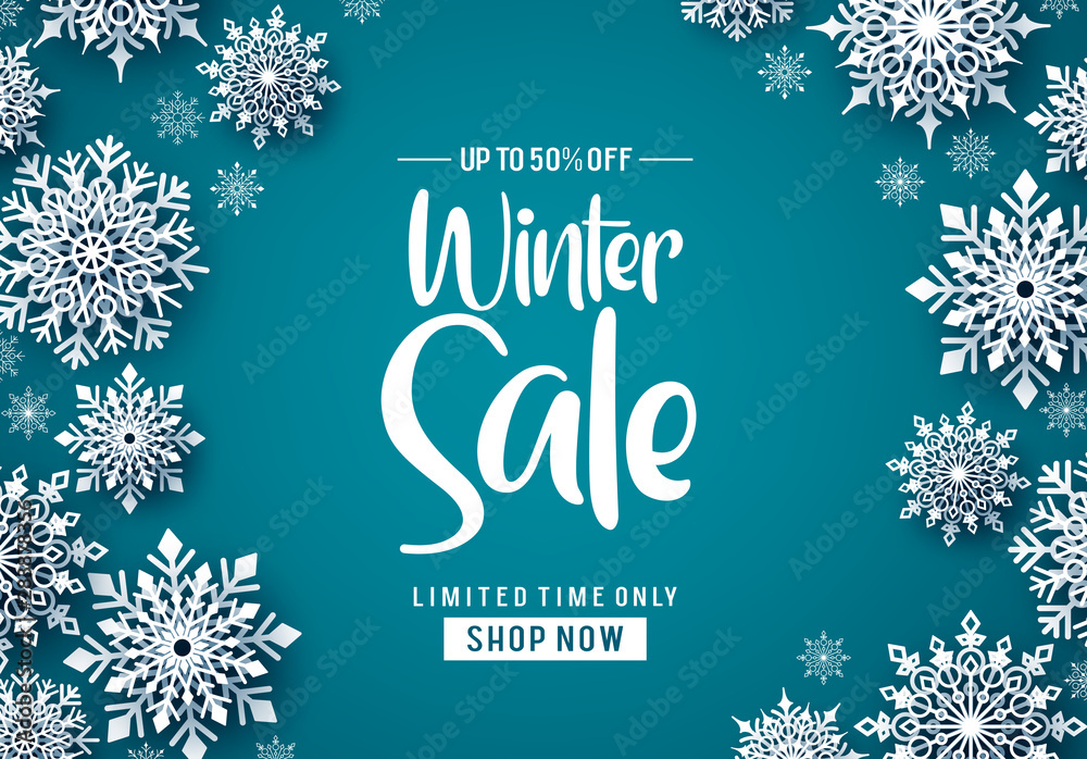 Fototapety, obrazy: Winter sale vector banner design. Winter sale text promo with white snowflakes element in blue background. Vector Illustration.