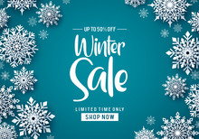 Winter Sale Vector Banner Design. Winter Sale Text Promo With White Snowflakes Element In Blue Background. Vector Illustration.