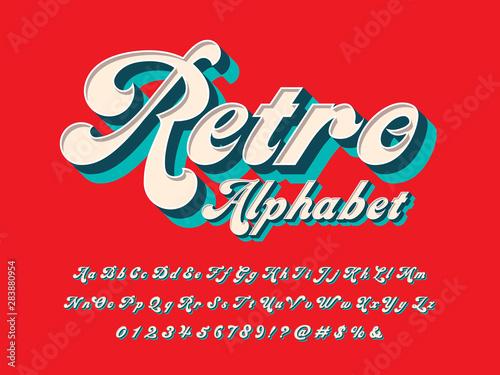 Vászonkép Vector of groovy hippie style alphabet design
