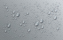 Water Rain Drops Or Condensation In Shower Realistic Transparent 3d Vector Composition Over Transparency Checker Grid, Easy To Put Over Any Background Or Use Droplets Separately.