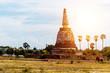 Leinwanddruck Bild Pagoda at Ayutthaya province Thailand.