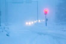 Bad Weather Traffic In Snow Storm. Sotkamo, Finland.