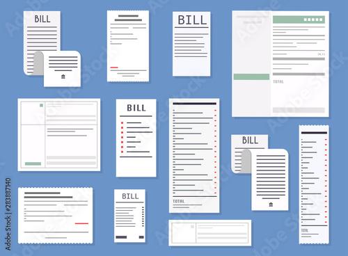 Valokuvatapetti Vector realistic receipts, bills, commercial checks