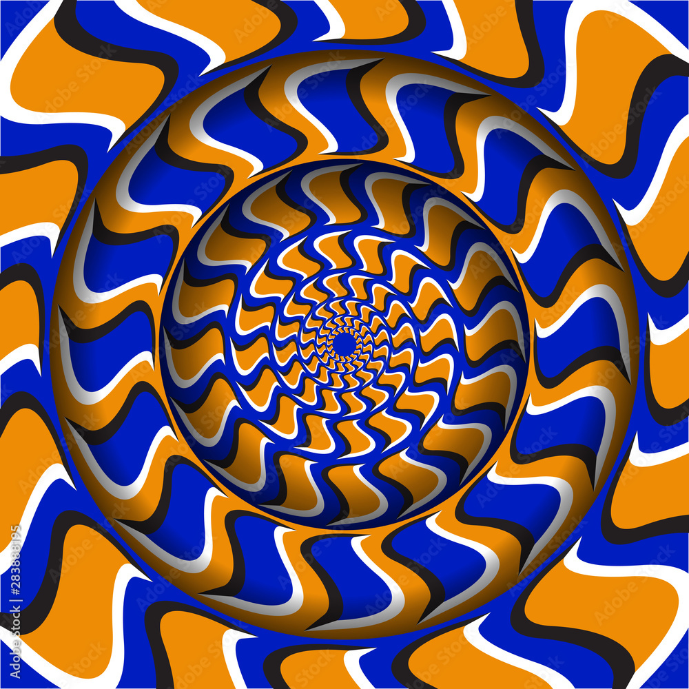Fototapeta Abstract round frame with a moving blue orange hooks shapes pattern. Optical illusion hypnotic background.