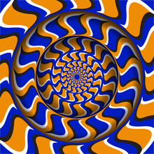 Abstract Round Frame With A Moving Blue Orange Hooks Shapes Pattern. Optical Illusion Hypnotic Background.