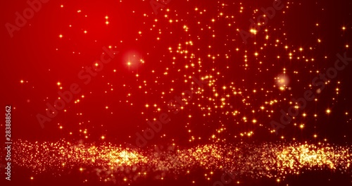 Golden confetti bokeh lights on the red background. 3d render - 283888562