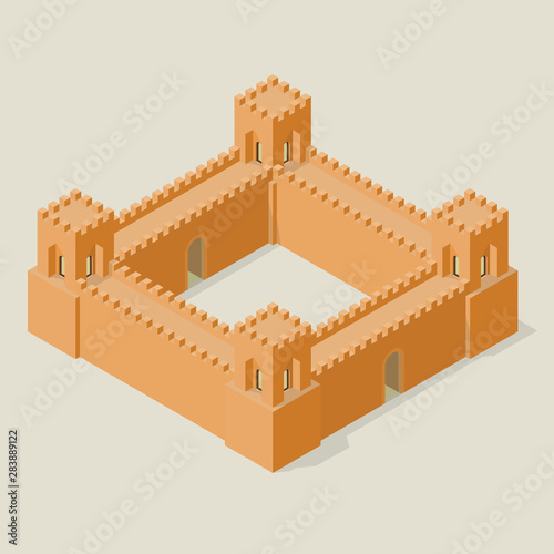 Isometric fortress with towers and walls Fototapet