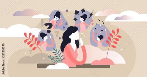 Obraz Feelings vector illustration. Flat tiny behavior expression persons concept - fototapety do salonu