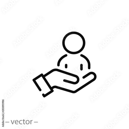 Fotografiet customer care icon, patient assistance, management support and help client, thin