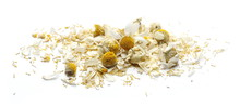 Dry Chamomile Flower Petals Isolated On White Background
