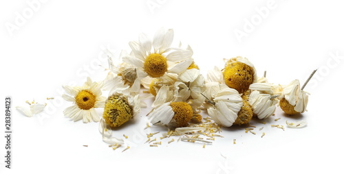 Spoed Fotobehang Bloemen chamomile, dry, petals, tea, organic, alternative, flower, crushed, infusion, bud, drink, herb, medical, herbaceous, aromatic, aroma, background, beautiful, beauty, blossom, bouquet, closeup, daisy, f