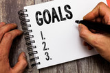 Text sign showing Goals. Conceptual photo persons ambition or effort aim desired result Sport match Winning. - 283897161