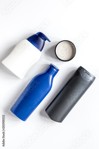Photo cosmetics for men in bottle on white background top view