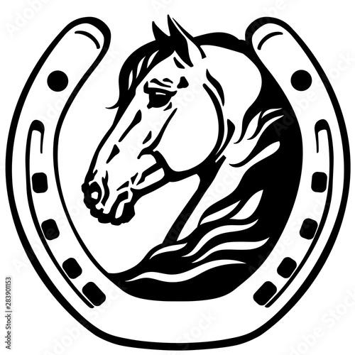 Fototapeta horse head in the horseshoe. Logo. icon, emblem. Black and white vector obraz