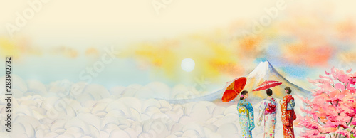 Foto auf Gartenposter Beige Travel landmarks famous of Japan in the Asian. Watercolor painting illustration Mount Fuji, beautiful japanese girl in kimono with flowers on cloud background, popular tour attraction business city.