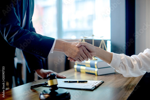 Fototapety, obrazy: Lawyer or judge  with gavel and balance handshake