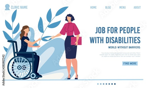 Valokuva  Flat Landing Page Offer Job for Disabled People