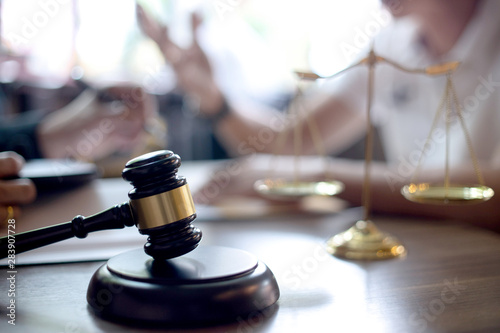 Lawyer or judge gavel with balance handshake Wallpaper Mural