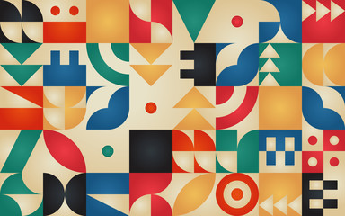 Geometric retro pattern with 30s styled shapes