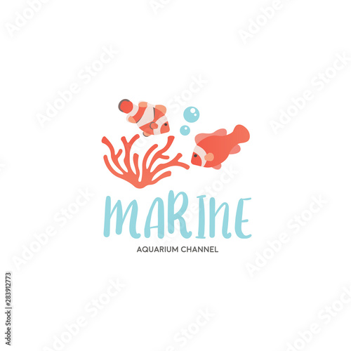 Fototapeta Cute reef school of clownfish logo illustration vector