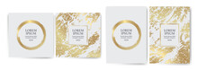 Set Of Design Templates With Golden Texture Background And Gold Strokes. Effect Luxury, Elegance, Exclusive, Premium, VIP. Wedding Invitation, Events, Parties, Covers, Promotions, Decoration.