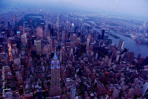 Sticker - Aerial view of New York city. Dark photo in the evening.