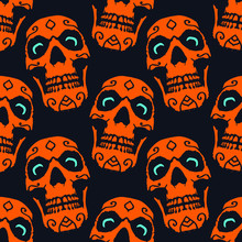 Spooky Orange Skull With Blue Eyes Halloween Seamless Pattern
