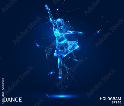 Hologram dance. Dancer from polygons, triangles points and lines. Dance lowpoly connection structure. Technology concept. Wall mural