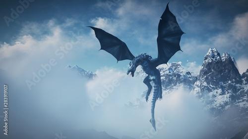 High resolution Ice dragon 3D rendered Fotobehang