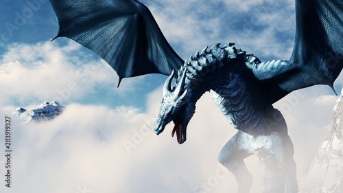 Photo  High resolution Ice dragon 3D rendered