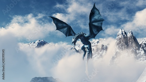 Fotografie, Obraz High resolution Ice dragon 3D rendered