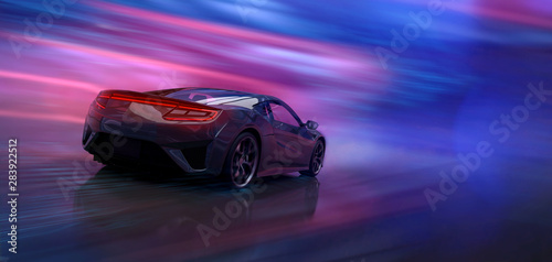 Futuristic high speed sports car in motion (3D Illustration) #283922512