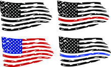 Distressed American Flags Eps10 Clip Art, Distressed American Flags Set, Eps10, Transparent Background, High Resolution. Firefighter  And Police Flags. Only Commercial  Use